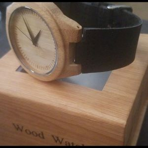 Other - Men's Wood With leather band Watch